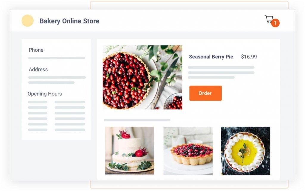 Screenshot: ecommerce for bakery