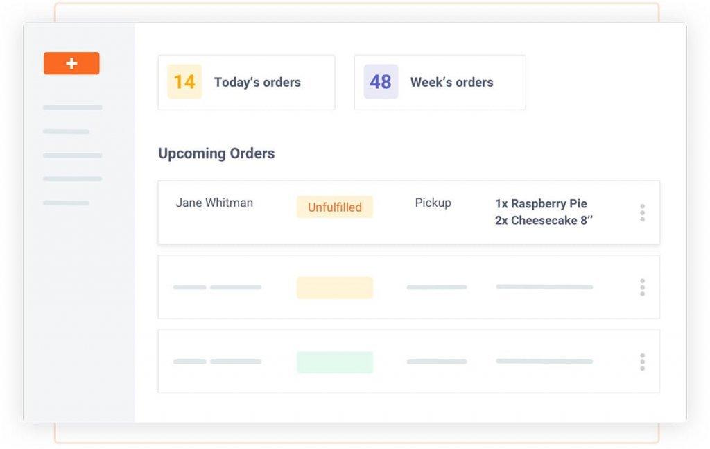 Screenshot: easy order management for bakery