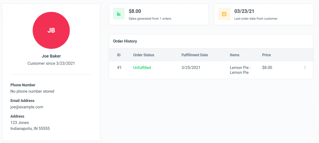 screenshot of customer account in OrderNova